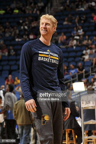 Chase Budinger of the Indiana Pacers warms up before the game against the Orlando Magic on February 21 2016 at the Amway Center in Orlando Florida...