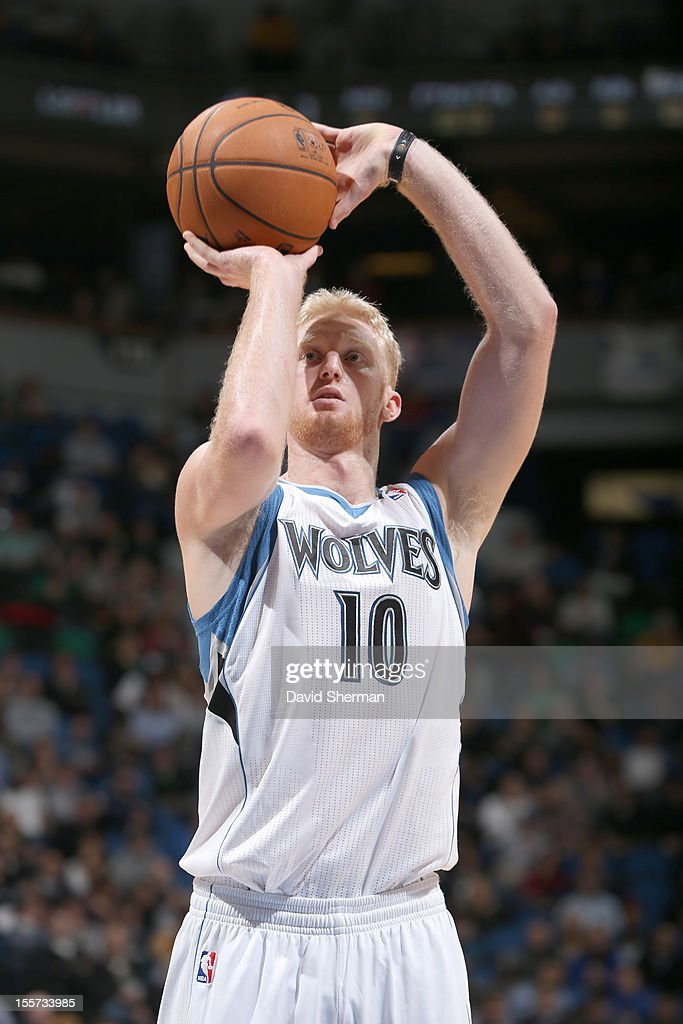 Chase Budinger #10 of the Minnesota Timberwolves aims for a free throw during the game between the Minnesota Timberwolves and the Orlando Magic on November 7, 2012 at Target Center in Minneapolis, Minnesota.