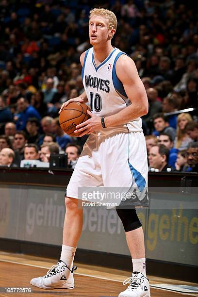 Chase Budinger of the Minnesota Timberwolves controls the ball against the Toronto Raptors on April 5 2013 at Target Center in Minneapolis Minnesota...
