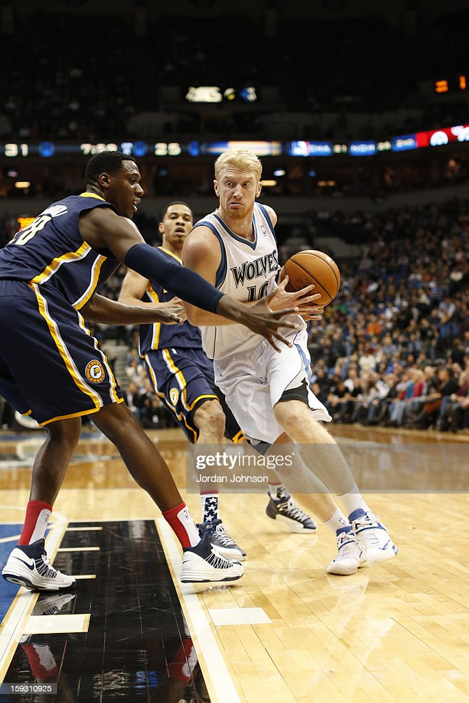 Chase Budinger #10 of the Minnesota Timberwolves drives to the basket against the Indiana Pacers on November 9, 2012 at Target Center in Minneapolis, Minnesota.