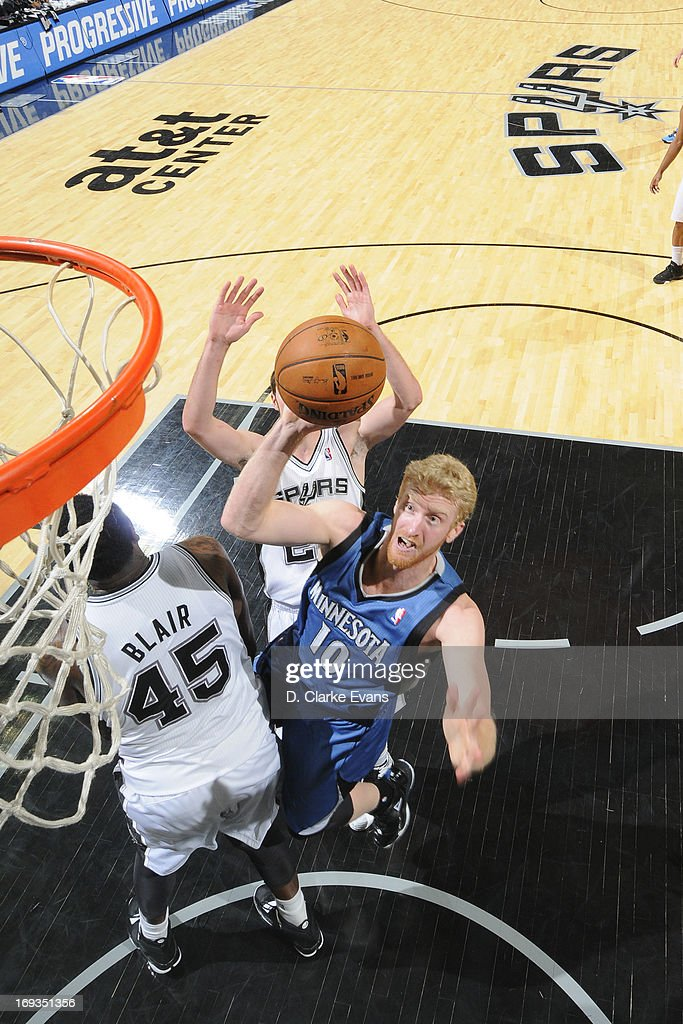 Chase Budinger #10 of the Minnesota Timberwolves drives to the basket against the San Antonio Spurs on April 17, 2013 at the AT&T Center in San Antonio, Texas.