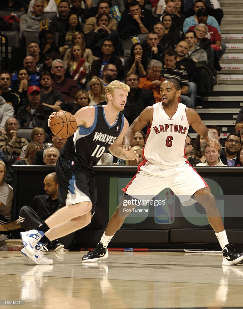 Chase Budinger #10 of the Minnesota Timberwolves drives to the basket vs Alan Anderson #6 of the Toronto Raptors during the game on November 4, 2012 at the Air Canada Centre in Toronto, Ontario, Canada.