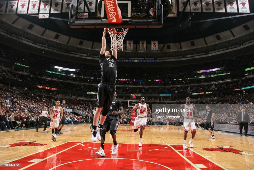 Chase Budinger #10 of the Minnesota Timberwolves dunks on the Chicago Bulls on January 27, 2014 at the United Center in Chicago, Illinois.
