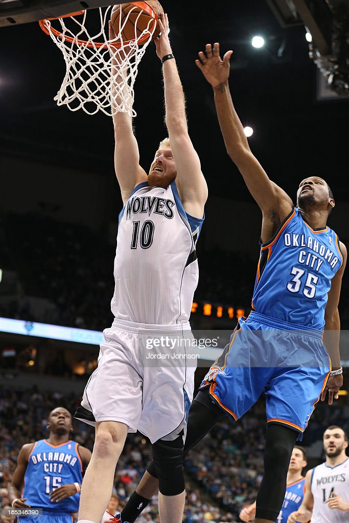 <a gi-track='captionPersonalityLinkClicked' href=/galleries/search?phrase=Chase+Budinger&family=editorial&specificpeople=3847600 ng-click='$event.stopPropagation()'>Chase Budinger</a> #10 of the Minnesota Timberwolves dunks the ball against the Oklahoma City Thunder on March 29, 2013 at Target Center in Minneapolis, Minnesota.
