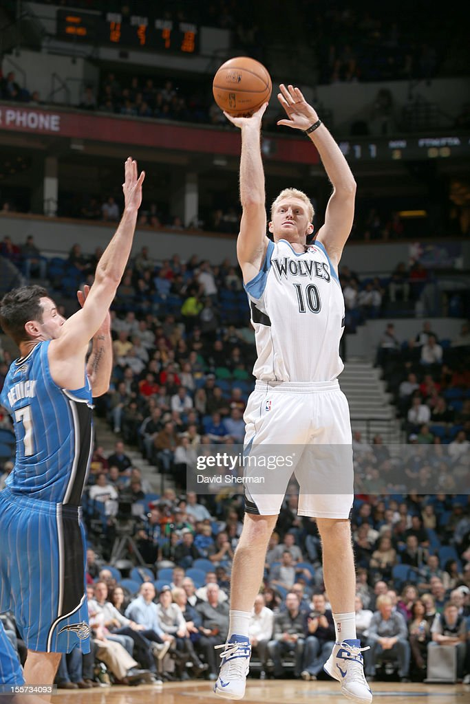 Chase Budinger #10 of the Minnesota Timberwolves goes for a jump shot during the game between the Minnesota Timberwolves and the Orlando Magic on November 7, 2012 at Target Center in Minneapolis, Minnesota.