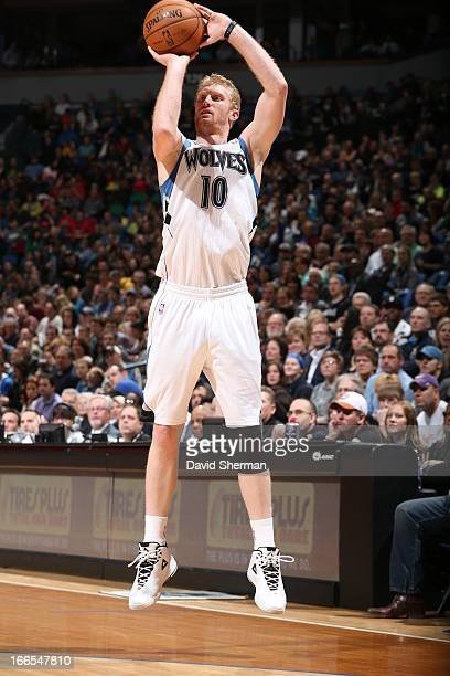 Chase Budinger of the Minnesota Timberwolves goes for a jump shot during the game between the Phoenix Suns and the Minnesota Timberwolves on April 13...