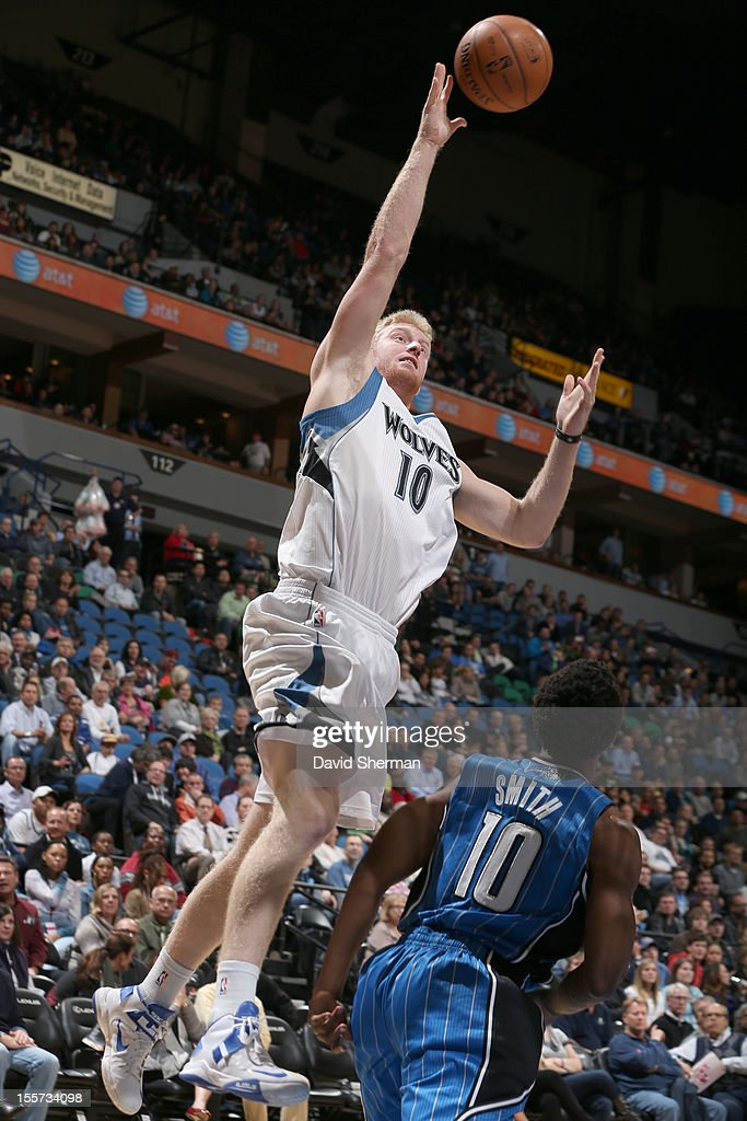 Chase Budinger #10 of the Minnesota Timberwolves goes to the basket during the game between the Minnesota Timberwolves and the Orlando Magic on November 7, 2012 at Target Center in Minneapolis, Minnesota.