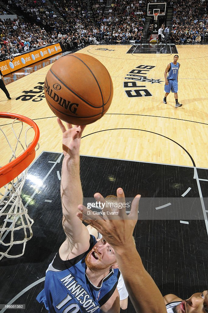 Chase Budinger #10 of the Minnesota Timberwolves goes up for a rebound against the San Antonio Spurs on April 17, 2013 at the AT&T Center in San Antonio, Texas.
