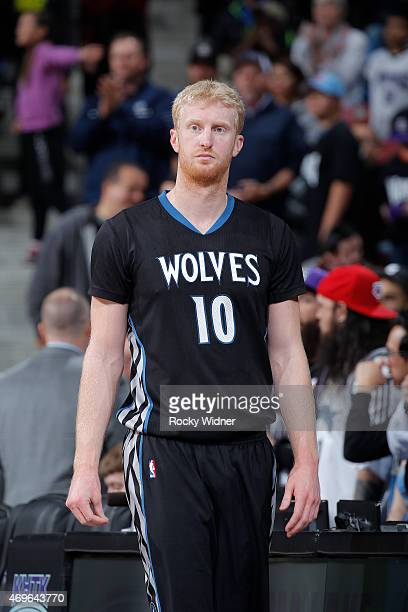 Chase Budinger of the Minnesota Timberwolves looks on during the game against the Sacramento Kings on April 7 2015 at Sleep Train Arena in Sacramento...