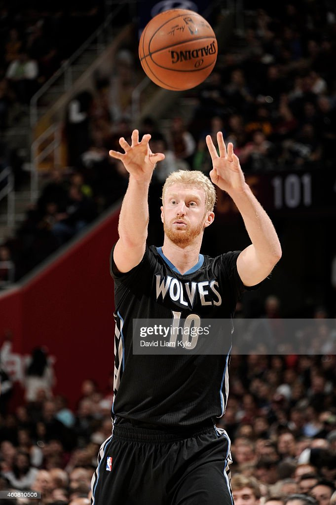 <a gi-track='captionPersonalityLinkClicked' href=/galleries/search?phrase=Chase+Budinger&family=editorial&specificpeople=3847600 ng-click='$event.stopPropagation()'>Chase Budinger</a> #10 of the Minnesota Timberwolves passes the ball against the Cleveland Cavaliers at The Quicken Loans Arena on December 23, 2014 in Cleveland, Ohio.