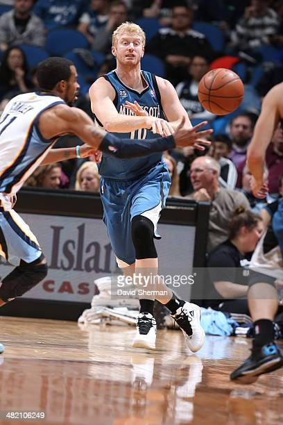 Chase Budinger of the Minnesota Timberwolves passes the ball against the Memphis Grizzlies on April 2 2014 at Target Center in Minneapolis Minnesota...