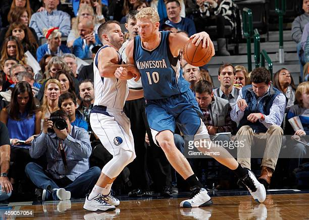 Chase Budinger of the Minnesota Timberwolves posts up against the Dallas Mavericks on November 15 2014 at the American Airlines Center in Dallas...