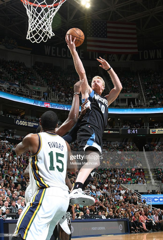 <a gi-track='captionPersonalityLinkClicked' href=/galleries/search?phrase=Chase+Budinger&family=editorial&specificpeople=3847600 ng-click='$event.stopPropagation()'>Chase Budinger</a> #10 of the Minnesota Timberwolves shoots a layup against <a gi-track='captionPersonalityLinkClicked' href=/galleries/search?phrase=Derrick+Favors&family=editorial&specificpeople=5792014 ng-click='$event.stopPropagation()'>Derrick Favors</a> #15 of the Utah Jazz at Energy Solutions Arena on April 12, 2013 in Salt Lake City, Utah.