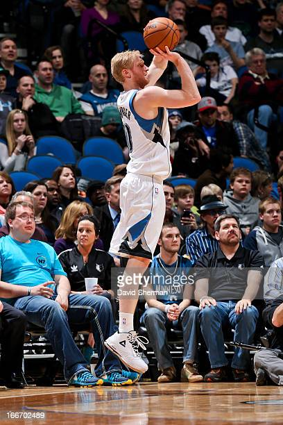 Chase Budinger of the Minnesota Timberwolves shoots a threepointer against the Utah Jazz on April 15 2013 at Target Center in Minneapolis Minnesota...