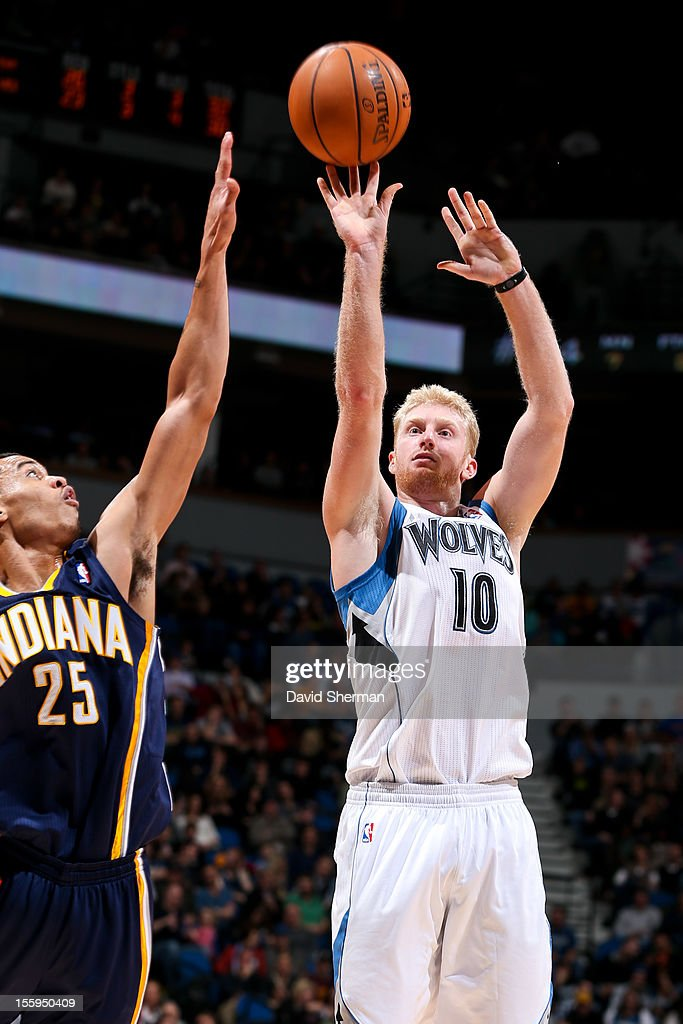 Chase Budinger #10 of the Minnesota Timberwolves shoots against Gerald Green #25 of the Indiana Pacers on November 9, 2012 at Target Center in Minneapolis, Minnesota.