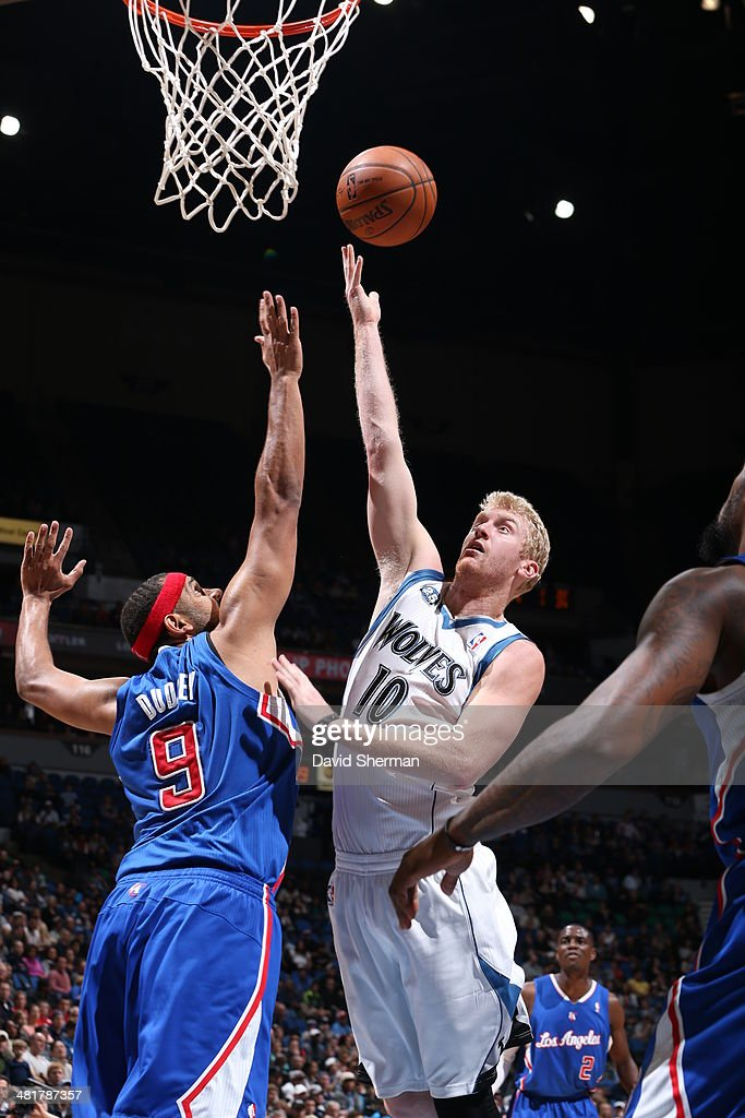 Chase Budinger #10 of the Minnesota Timberwolves shoots against the Los Angeles Clippers on March 31, 2014 at Target Center in Minneapolis, Minnesota.