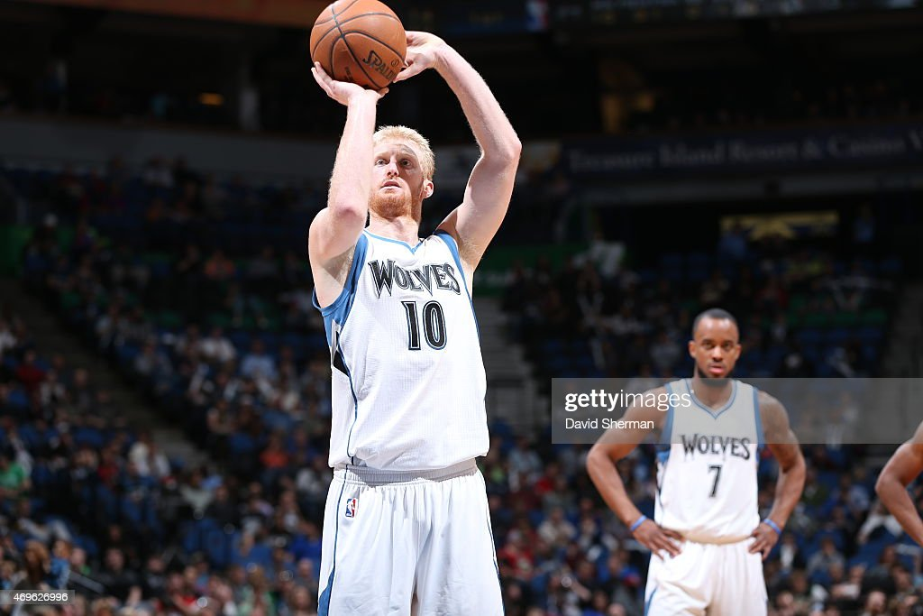 <a gi-track='captionPersonalityLinkClicked' href=/galleries/search?phrase=Chase+Budinger&family=editorial&specificpeople=3847600 ng-click='$event.stopPropagation()'>Chase Budinger</a> #10 of the Minnesota Timberwolves shoots against the New Orleans Pelicans during the game on April 13, 2015 at Target Center in Minneapolis, Minnesota.