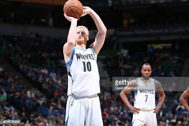 Chase Budinger of the Minnesota Timberwolves shoots against the New Orleans Pelicans during the game on April 13 2015 at Target Center in Minneapolis...