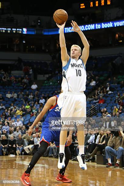 Chase Budinger of the Minnesota Timberwolves shoots against the Philadelphia 76ers during the game on December 3 2014 at Target Center in Minneapolis...