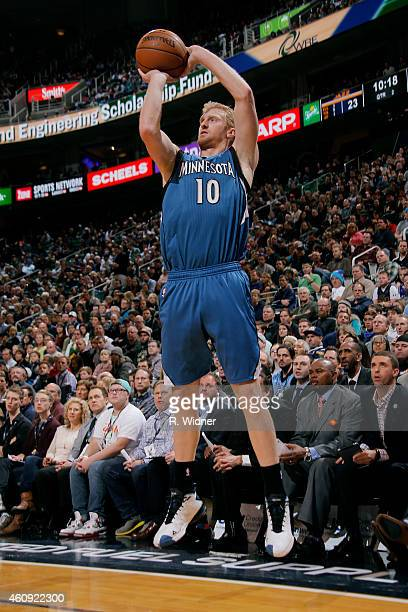 Chase Budinger of the Minnesota Timberwolves shoots against the Utah Jazz at EnergySolutions Arena on December 30 2014 in Salt Lake City Utah NOTE TO...