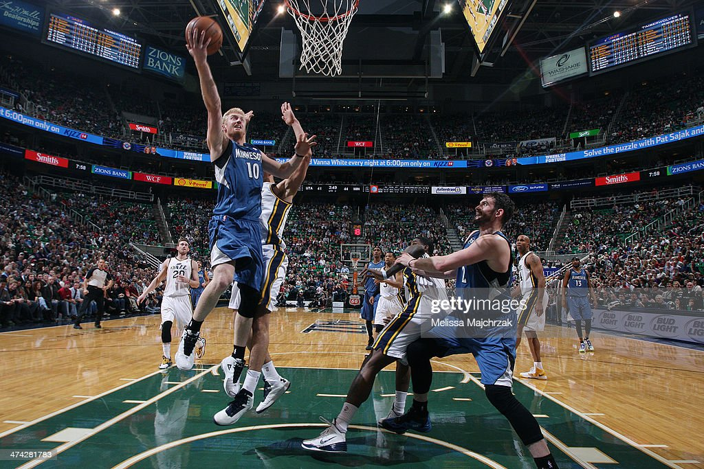 <a gi-track='captionPersonalityLinkClicked' href=/galleries/search?phrase=Chase+Budinger&family=editorial&specificpeople=3847600 ng-click='$event.stopPropagation()'>Chase Budinger</a> #10 of the Minnesota Timberwolves shoots against the Utah Jazz at EnergySolutions Arena on February 22, 2014 in Salt Lake City, Utah.