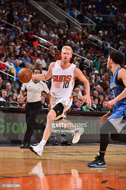 Chase Budinger of the Phoenix Suns handles the ball against the Minnesota Timberwolves on March 14 2016 at Talking Stick Resort Arena in Phoenix...