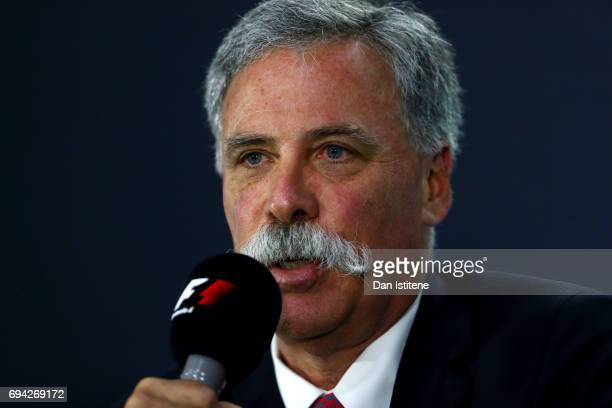 Chase Carey CEO and Executive Chairman of the Formula One Group in a press conference during practice for the Canadian Formula One Grand Prix at...