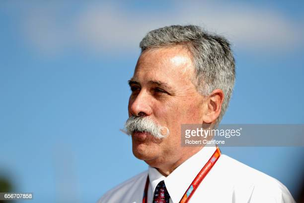 Chase Carey CEO and Executive Chairman of the Formula One Group in the Paddock during previews to the Australian Formula One Grand Prix at Albert...