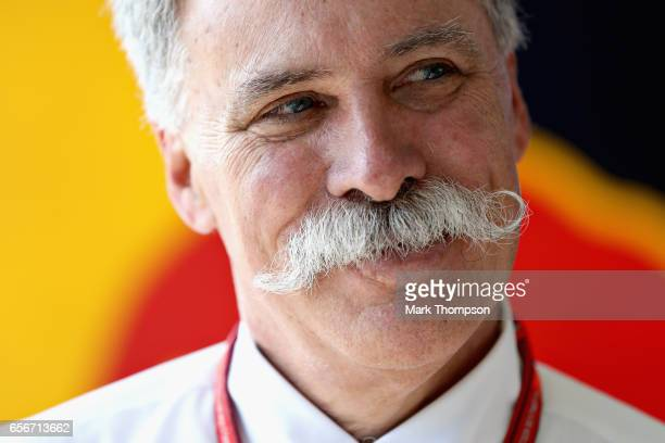 Chase Carey CEO and Executive Chairman of the Formula One Group in the Red Bull Racing garage during previews to the Australian Formula One Grand...