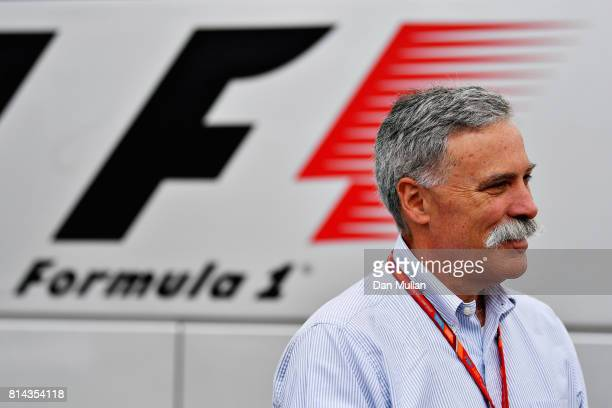 Chase Carey CEO and Executive Chairman of the Formula One Group looks on in the Paddock during practice for the Formula One Grand Prix of Great...