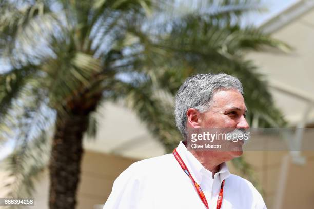 Chase Carey CEO and Executive Chairman of the Formula One Group walks in the Paddock before practice for the Bahrain Formula One Grand Prix at...