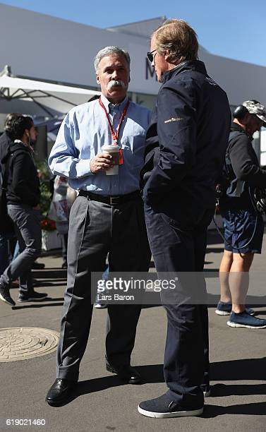 Chase Carey Chairman of Formula One Group talks in the Paddock during final practice for the Formula One Grand Prix of Mexico at Autodromo Hermanos...