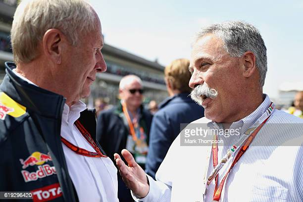 Chase Carey Chairman of Formula One Group talks with Red Bull Racing Team Consultant Dr Helmut Marko on the grid before the Formula One Grand Prix of...