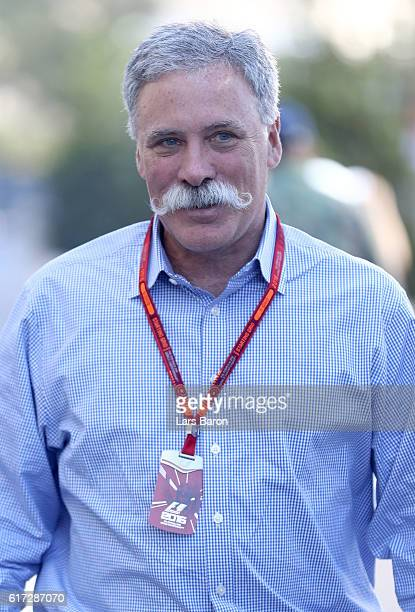 Chase Carey Chairman of Formula One Group walks in the Paddock after qualifying for the United States Formula One Grand Prix at Circuit of The...
