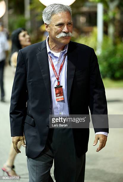 Chase Carey Chairman of Formula One Group walks in the Paddock during practice for the Formula One Grand Prix of Singapore at Marina Bay Street...