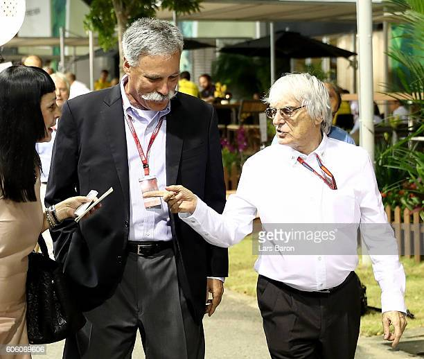 Chase Carey Chairman of Formula One Group walks with F1 supremo Bernie Ecclestone in the Paddock in the Paddock during practice for the Formula One...