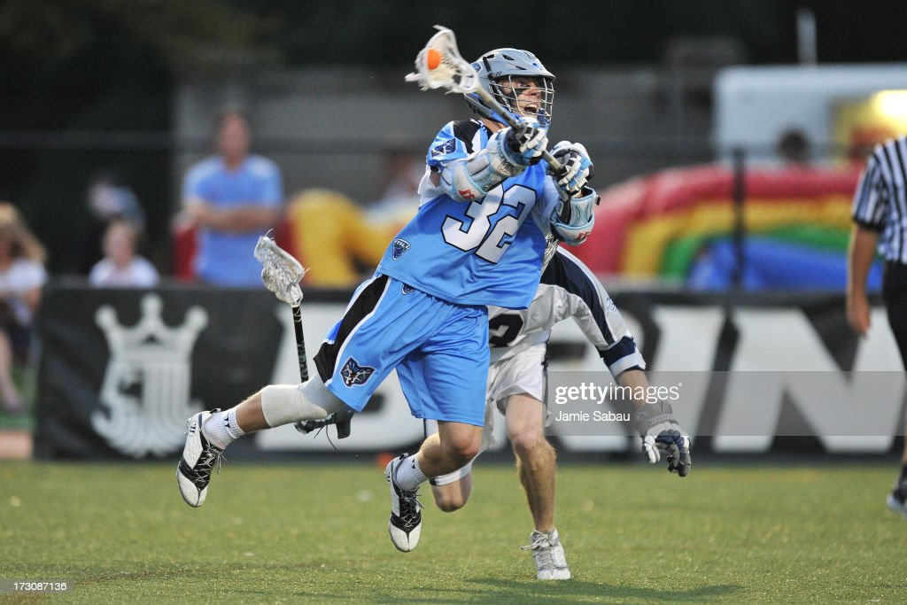 Chase Carraro of the Ohio Machine shoots on goal in the third period against the Chesapeake Bayhawks on July 6 2013 at Selby Stadium in Delaware Ohio...