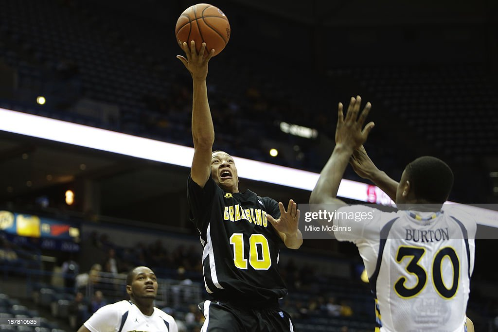 Chase Comier #10 of the Grambling State Tigers goes to the hoop during the second half against the Marquette Golden Eagles at BMO Harris Bradley Center on November 12, 2013 in Madison, Wisconsin.