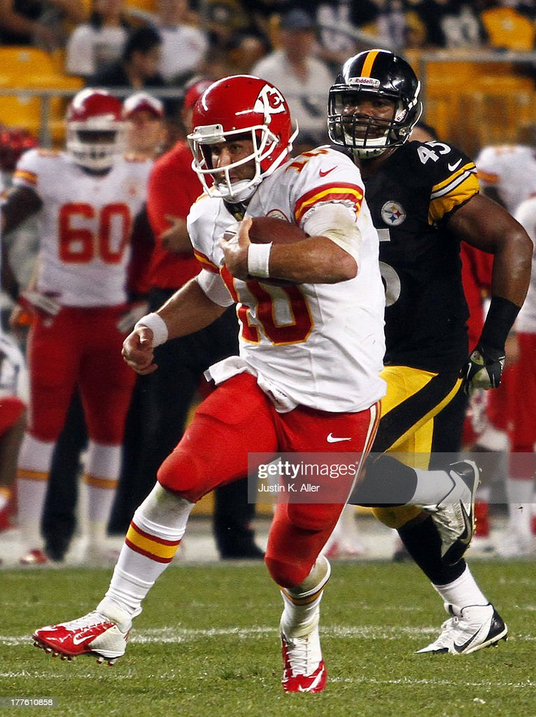 Chase Daniel #10 of the Kansas City Chiefs carries the ball against the Pittsburgh Steelers in overtime during the game on August 24, 2013 at Heinz Field in Pittsburgh, Pennsylvania.