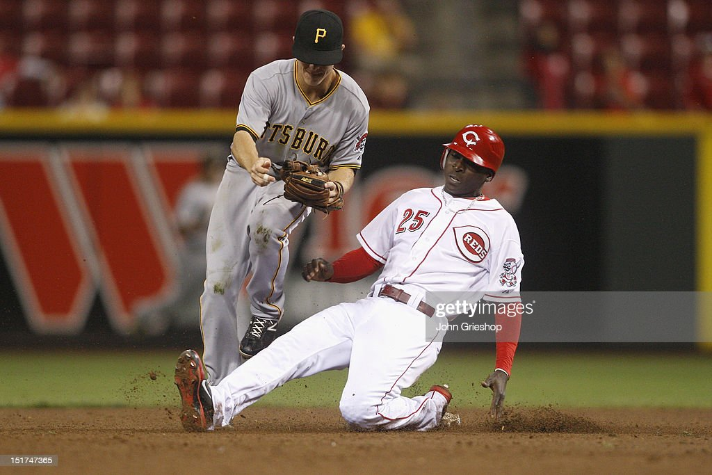 Chase d'Armaud #3 of the Pittsburgh Pirates makes the force play at second base in front of a sliding Didi Gregorius #25 of the Cincinnati Reds during their game at Great American Ball Park on September 10, 2012 in Cincinnati, Ohio. The Reds defeated the Pirates 4-3 in 14 innings.