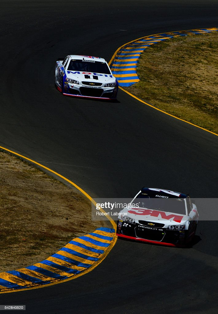 <a gi-track='captionPersonalityLinkClicked' href=/galleries/search?phrase=Chase+Elliott&family=editorial&specificpeople=3623017 ng-click='$event.stopPropagation()'>Chase Elliott</a>, driver of the #24 3M Chevrolet, and <a gi-track='captionPersonalityLinkClicked' href=/galleries/search?phrase=Kevin+Harvick&family=editorial&specificpeople=209186 ng-click='$event.stopPropagation()'>Kevin Harvick</a>, driver of the #4 Mobil 1 Chevrolet, drive during practice for the NASCAR Sprint Cup Series Toyota/Save Mart 350 at Sonoma Raceway on June 24, 2016 in Sonoma, California.