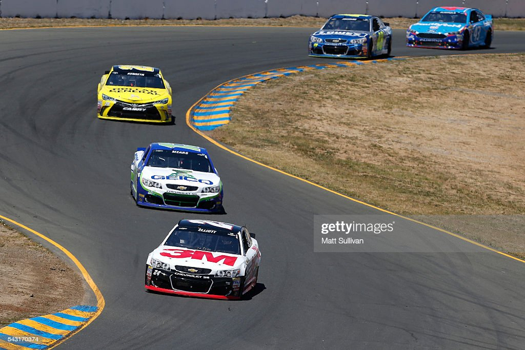 <a gi-track='captionPersonalityLinkClicked' href=/galleries/search?phrase=Chase+Elliott&family=editorial&specificpeople=3623017 ng-click='$event.stopPropagation()'>Chase Elliott</a>, driver of the #24 3M Chevrolet, leads a pack of cars during the NASCAR Sprint Cup Series Toyota/Save Mart 350 at Sonoma Raceway on June 26, 2016 in Sonoma, California.