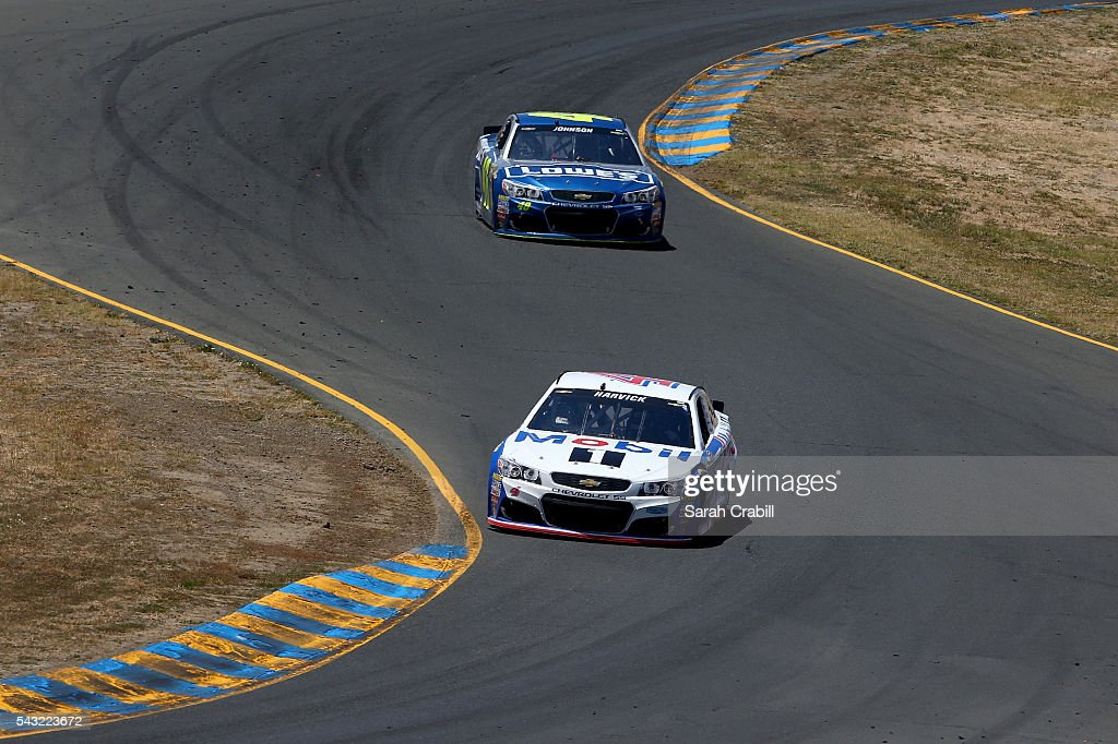 Chase Elliott, driver of the #24 3M Chevrolet, races Jimmie Johnson, driver of the #48 Lowe's Chevrolet, during the NASCAR Sprint Cup Series Toyota/Save Mart 350 at Sonoma Raceway on June 26, 2016 in Sonoma, California.