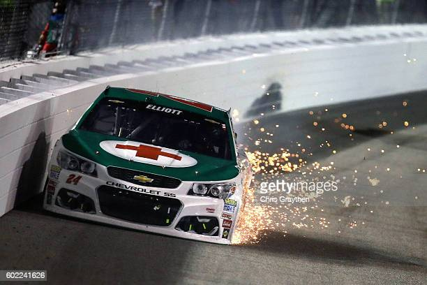 Chase Elliott driver of the 3M/American Red Cross Chevrolet is involved in an ontrack incident during the NASCAR Sprint Cup Series Federated Auto...