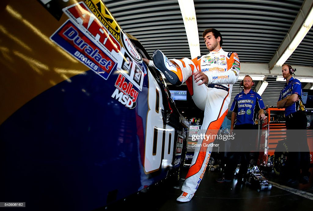 <a gi-track='captionPersonalityLinkClicked' href=/galleries/search?phrase=Chase+Elliott&family=editorial&specificpeople=3623017 ng-click='$event.stopPropagation()'>Chase Elliott</a>, driver of the #88 Armour Sandwich Creations Chevrolet, climbs into his car during practice for the NASCAR XFINITY Series Subway Firecracker 250 at Daytona International Speedway on June 30, 2016 in Daytona Beach, Florida.