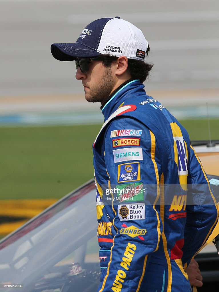 Chase Elliott, driver of the #88 Armour Vienna Sausage Chevrolet, stands on the grid during qualifying for the NASCAR XFINITY Series Sparks Energy 300 at Talladega Superspeedway on April 30, 2016 in Talladega, Alabama.