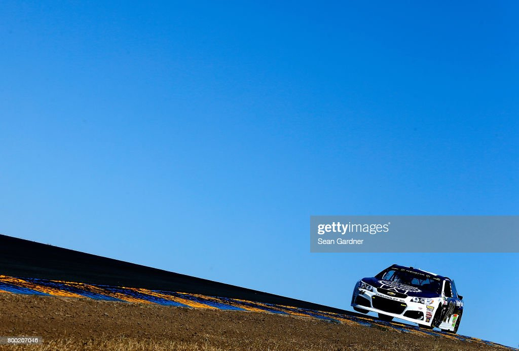 Chase Elliott, driver of the #24 Kelley Blue Book Chevrolet, drives during practice for the Monster Energy NASCAR Cup Series Toyota/Save Mart 350 at Sonoma Raceway on June 23, 2017 in Sonoma, California.