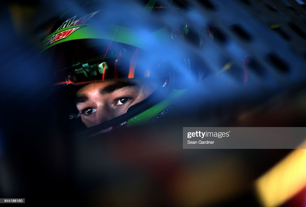 Chase Elliott, driver of the #24 Mountain Dew Chevrolet, sits in his car during ractice for the Monster Energy NASCAR Cup Series Federated Auto Parts 400 at Richmond International Raceway on September 8, 2017 in Richmond, Virginia.