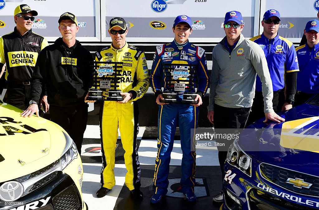 <a gi-track='captionPersonalityLinkClicked' href=/galleries/search?phrase=Chase+Elliott&family=editorial&specificpeople=3623017 ng-click='$event.stopPropagation()'>Chase Elliott</a>, driver of the #24 NAPA Auto Parts Chevrolet, and <a gi-track='captionPersonalityLinkClicked' href=/galleries/search?phrase=Matt+Kenseth&family=editorial&specificpeople=204192 ng-click='$event.stopPropagation()'>Matt Kenseth</a>, driver of the #20 Dollar General Toyota, pose with the Daytona 500 Pole Award and Front Row Award after qualifying for the pole position and front row for the NASCAR Sprint Cup Series Daytona 500 at Daytona International Speedway on February 14, 2016 in Daytona Beach, Florida.