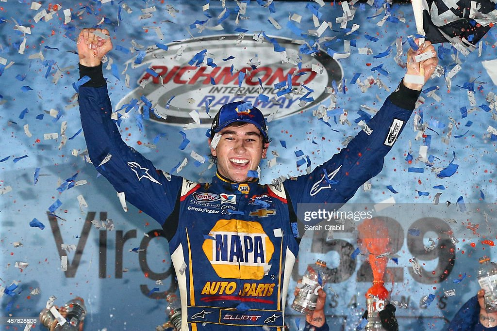 Chase Elliott, driver of the #9 NAPA Auto Parts Chevrolet, celebrates in Victory Lane after winning the NASCAR XFINITY Series Virginia529 College Savings 250 at Richmond International Raceway on September 11, 2015 in Richmond, Virginia.
